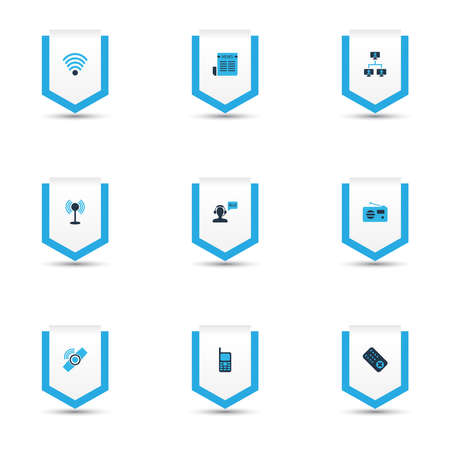 Telecommunication icons colored set with greeting male operator, mobile phone, linked computers and other helpline elements. Isolated vector illustration telecommunication icons. 向量圖像