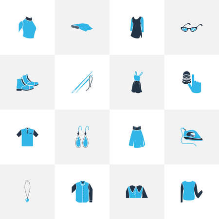 Style icons colored set with high waist skirt, sweatshirt, low bias roll and other eyelet elements. Isolated vector illustration style icons. 向量圖像