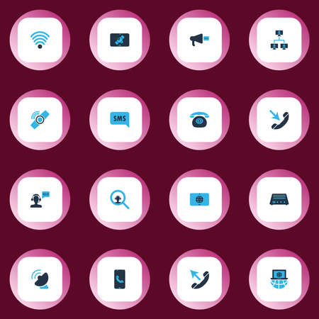 Telecommunication icons colored set with greeting male operator, call, sms notification and other worldwide elements. Isolated vector illustration telecommunication icons.