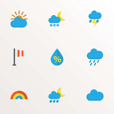 Weather icons flat style set with flag, cloudy, sun and other hailstones elements. Isolated vector illustration weather icons.