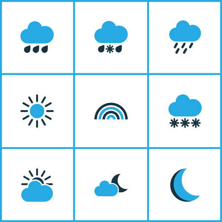 Air icons colored set with rain, snowy raining, sun and other sunny elements. Isolated vector illustration air icons.