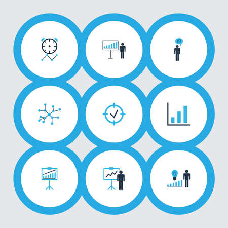 Executive icons colored set with project deadlines, management improvements, presentation of statistics and other progress elements. Isolated vector illustration executive icons.