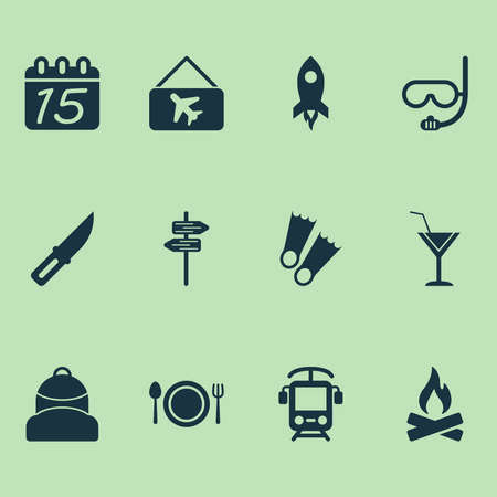 Travel icons set with flippers, calendar, cocktail and other cafe elements. Isolated vector illustration travel icons.