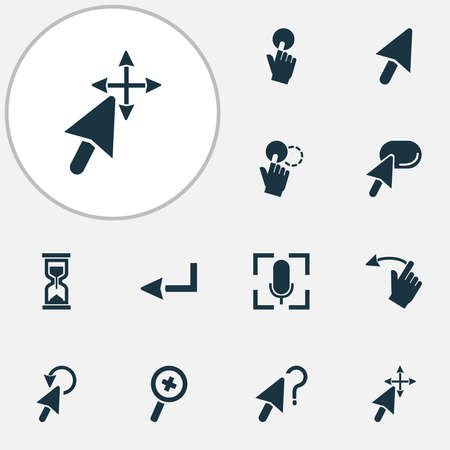 Mouse icons set with mouse cursor, cursor question, zoom in and other press elements. Isolated vector illustration mouse icons.
