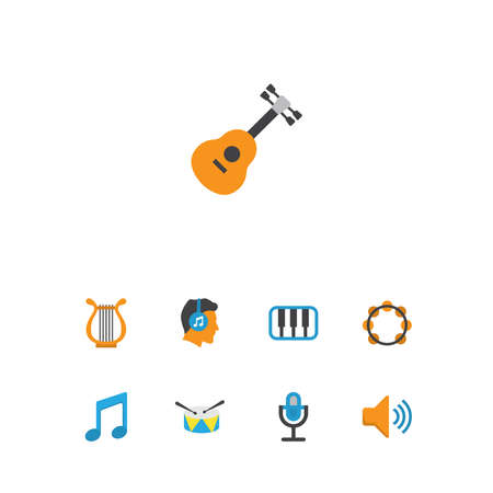 Audio icons flat style set with listen, guitar, voice and other tone elements. Isolated vector illustration audio icons.