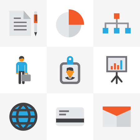 Business icons flat style set with structure, whiteboard, businessman and other id badge elements. Isolated vector illustration business icons.