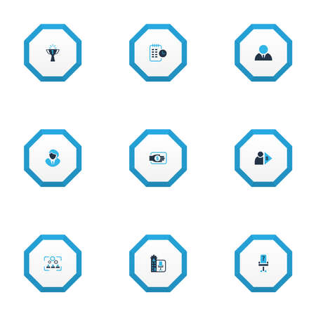 Work icons colored set with vacancy, long-term plan, businessman and other capitalist elements. Isolated vector illustration work icons.