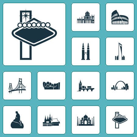 Culture icons set with gateway arch, twin towers, little mermaid statue and other condo elements. Isolated vector illustration culture icons.