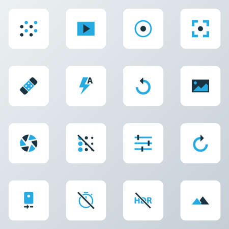 Image icons colored set with slideshow, chronometer, circle and other reload elements. Isolated illustration image icons. 스톡 콘텐츠