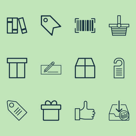 Ecommerce icons set with like, barcode, package and other pannier elements. Isolated illustration ecommerce icons. 스톡 콘텐츠