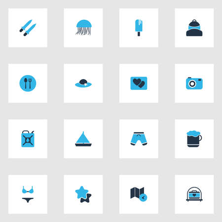 Tourism icons colored set with map with time, cutlery, backpack and other favorite elements. Isolated illustration tourism icons.