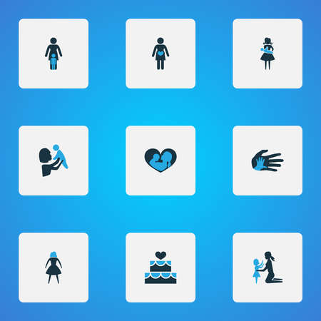Mothers day icon colored design concept. Set of 9 such elements as pregnancy, female and helping. Beautiful symbols for mother, care and woman. 스톡 콘텐츠