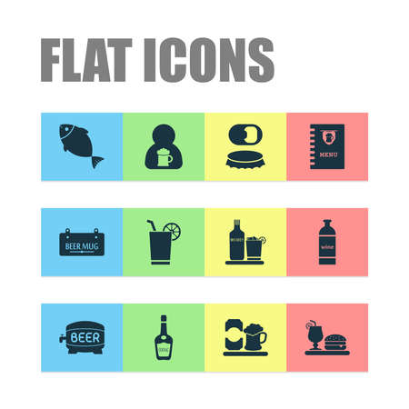 Drink icons set with barrel of beer, waiter, bottle of wine and other lemonade elements. Isolated illustration drink icons. 스톡 콘텐츠