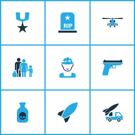 Warfare icons colored set with order, tomb, venom and other refugee elements. Isolated illustration warfare icons. 스톡 콘텐츠