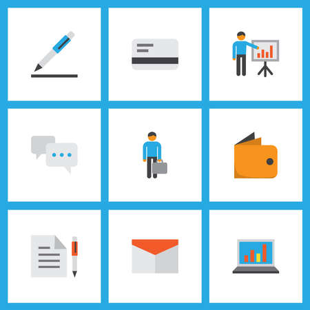 Trade icons flat style set with business presentation, bank card, agreement and other envelope elements. Isolated illustration trade icons.