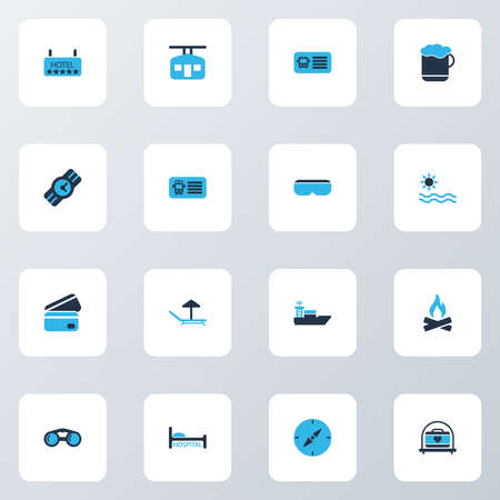 Journey icons colored set with hospital, ski cabin, vr spectacles and other summer elements. Isolated illustration journey icons.