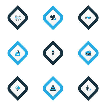 Mothers day icon colored design concept. Set of 9 such elements as flower, heart and madame. Beautiful symbols for text, mother and mam.