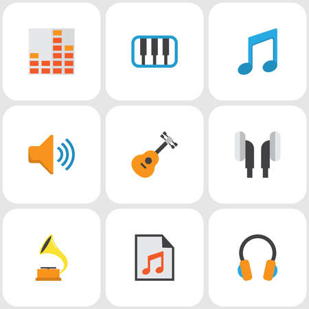 Audio icons flat style set with synthesizer, gramophone, earpiece and other audio elements. Isolated illustration audio icons. 스톡 콘텐츠