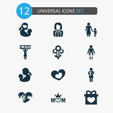 Mothers day icon design concept. Set of 12 such elements as newborn baby, loving and missus. Beautiful symbols for mother, baby and heart. 스톡 콘텐츠