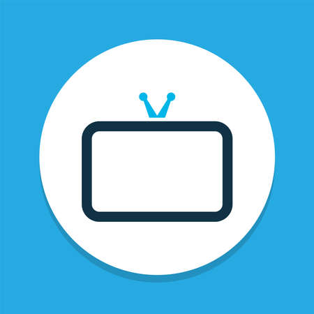 Tv icon colored symbol. Premium quality isolated television element in trendy style. Çizim