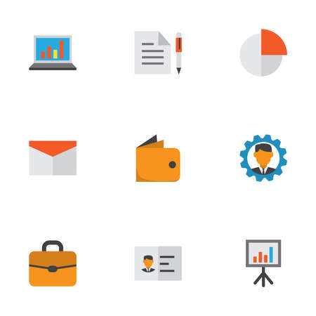 Trade icons flat style set with mail, statistics, authentication and other suitcase elements. Isolated vector illustration trade icons.