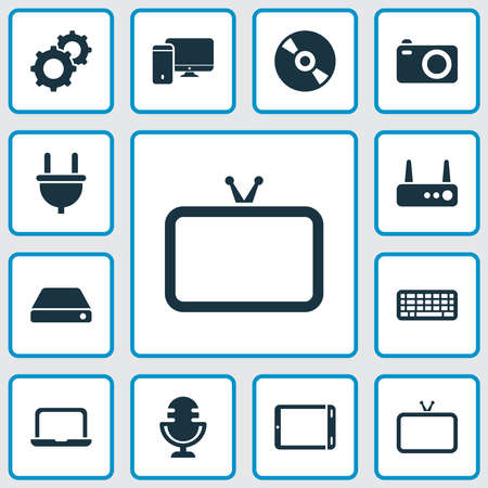 Device icons set with laptop, hard drive, router and other compact disc elements. Isolated illustration device icons.