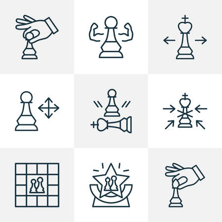 Hobby icons line style set with competition, chess players, game and other beaten pawn elements. Isolated illustration hobby icons.