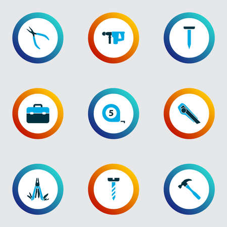 Repair icons colored set with multi tool, bolt, electric instrument and other repair elements. Isolated illustration repair icons. 스톡 콘텐츠