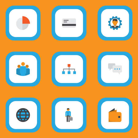 Trade icons flat style set with world, manager, team and other pie bar elements. Isolated illustration trade icons.