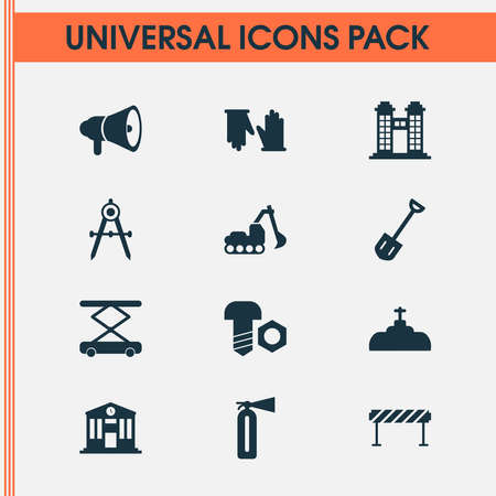 Industry icons set with shovel, dividers, horn and other flame safety elements. Isolated illustration industry icons.
