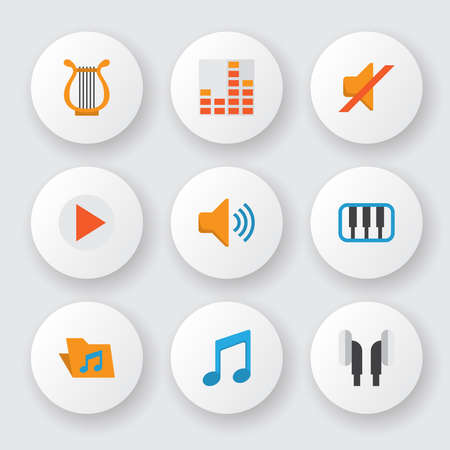 Multimedia icons flat style set with musical, philharmonic, silent and other button elements. Isolated illustration multimedia icons.