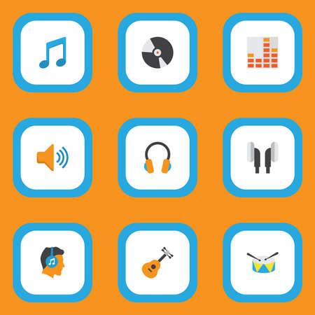 Multimedia icons flat style set with guitar, frequency, compact disk and other male elements. Isolated vector illustration multimedia icons.