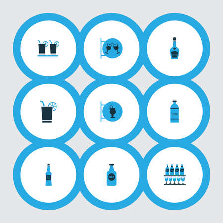 Drink icons colored set with bottle of wine, cocktail sign, stand of beers vodka bottle elements. Isolated illustration drink icons.