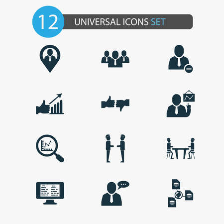 Teamwork icons set with employee speech, online task board, remove from team and other magnifier elements. Isolated illustration teamwork icons. Zdjęcie Seryjne