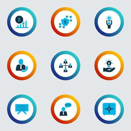 Job icons colored set with call employee, comments, team structure and other brilliant idea elements. Isolated illustration job icons.