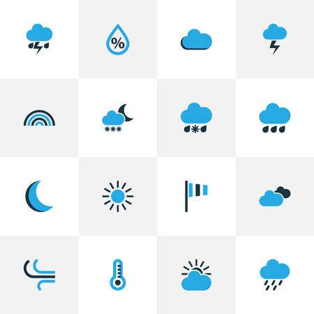 Air icons colored set with moon, snowfall, drizzle and other thunderstorm elements. Isolated illustration air icons. 스톡 콘텐츠