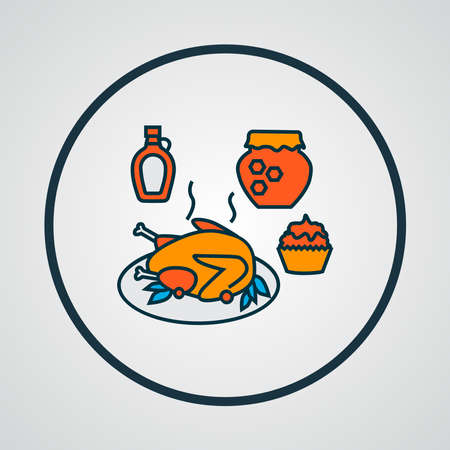 Thanksgiving dinner icon colored line symbol. Premium quality isolated food element in trendy style.