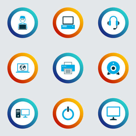 Computer icons colored set with start button, man with notebook, internet and other laptop elements. Isolated vector illustration computer icons.