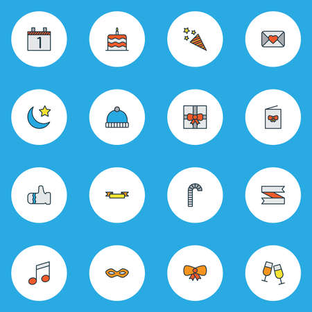 Year icons colored line set with moon with star, cake, firecracker and other mitten elements. Isolated vector illustration year icons.