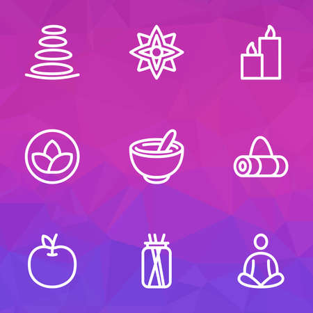 Relax icons line style set with floral, lotus, paraffin and other bowl elements. Isolated vector illustration relax icons.