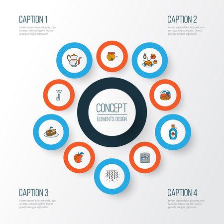 Celebration icons colored line set with origami, maple syrup, fruit basket and other dessert elements. Isolated vector illustration celebration icons. Illusztráció