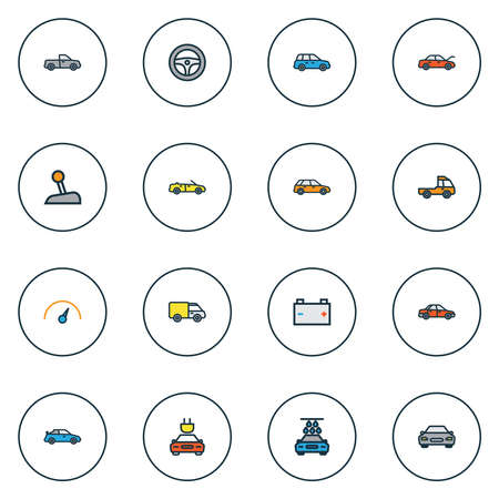 Automobile icons colored line set with prime-mover, speedometer, battery and other truck elements. Isolated vector illustration automobile icons.