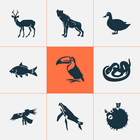 Fauna icons set with carp, snake, whale and other mallard elements. Isolated illustration fauna icons.