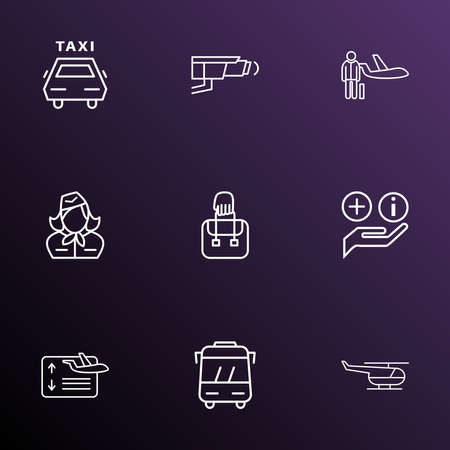 Traveling icons line style set with hand baggage, assistance, stewardess departure elements. Isolated illustration traveling icons. Imagens
