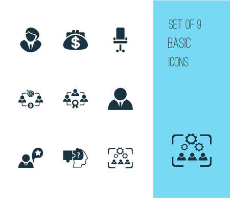 Business management icons set with job performance, cooperation, businessman and other corporate elements. Isolated illustration business management icons.