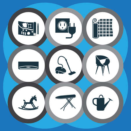 House icons set with air condition, rocking horse, electric socket and other bailer elements. Isolated illustration house icons.