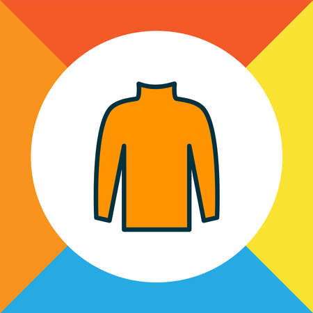 Turtleneck sweater icon colored line symbol. Premium quality isolated pullover element in trendy style.