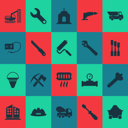 Industry icons set with turn-screw, construction helmet, temple and other sharp elements. Isolated illustration industry icons.