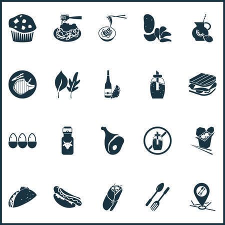 Eating icons set with leaves, ham, restaurant location and other drink elements. Isolated illustration eating icons. Imagens