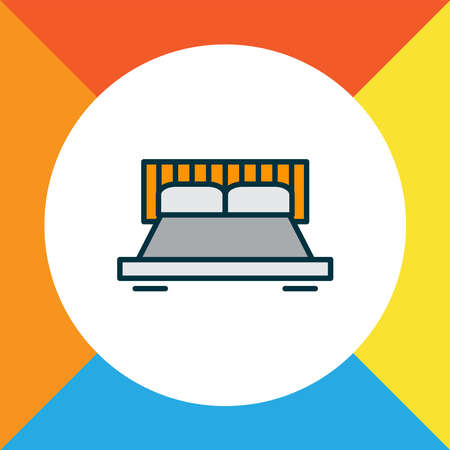 Double bed icon colored line symbol. Premium quality isolated bedroom element in trendy style. Imagens